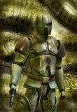 Soldado futurista en armadura Fotografía de archivo libre de regalías