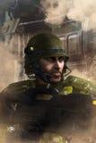 Soldado futurista en combate Foto de archivo libre de regalías