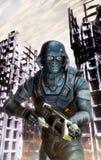 Soldado futurista en la acción en la guerra stock de ilustración
