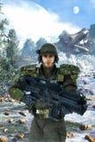 Soldado futurista y batalla Imagenes de archivo
