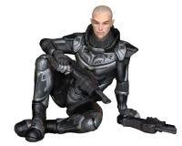 Soldado futuro, homem, sentando-se Imagem de Stock