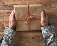 Soldado Holding Parcel Fotografia de Stock
