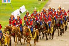 Soldado Horseback de la ceremonia de inauguración del festival de Naadam imagen de archivo libre de regalías