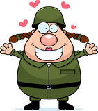 Soldado Hug da mulher ilustração do vetor