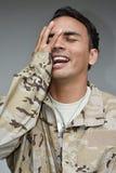 Soldado masculino considerável Laughing Fotos de Stock Royalty Free