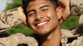 Soldado masculino And Happiness do Latino Fotos de Stock