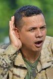 Soldado masculino Hearing imagem de stock royalty free