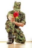 Soldado militar que se arrodilla sosteniendo la rosa del rojo Fotografía de archivo