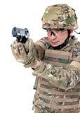 Soldado moderno con el rifle Fotografía de archivo