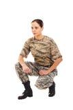 Soldado: muchacha en el uniforme militar Fotos de archivo