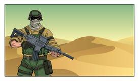 Soldado no deserto ilustração royalty free