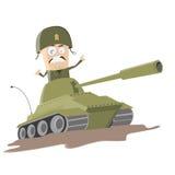 Soldado occidental de la historieta en un tanque Fotos de archivo
