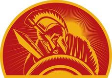 Soldado ou gladiador romano com espada e protetor ilustração stock