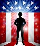 Soldado patriótico American Flag Background stock de ilustración