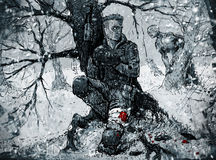 Soldado que esconde na floresta do inverno Imagens de Stock