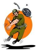 Soldado que lanza una granada stock de ilustración