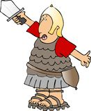 Soldado que levanta su colmo de la espada Imagen de archivo libre de regalías