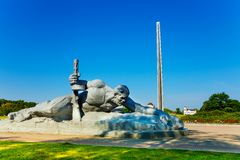 Soldado que rasteja para o monumento da água em Bresta Fotografia de Stock