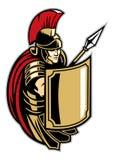 Soldado romano con el escudo grande Fotografía de archivo libre de regalías