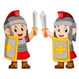 Soldado romano con la espada que se levanta ilustración del vector