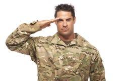 Soldado Saluting del ejército Fotografía de archivo