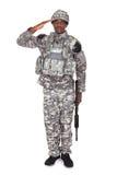 Soldado Saluting del ejército Imagen de archivo