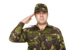 Soldado Saluting do exército Imagens de Stock