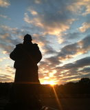 Soldado Statue no por do sol Foto de Stock Royalty Free
