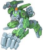 Soldado verde Robot Punching Illustration dos desenhos animados do Humanoid ilustração do vetor