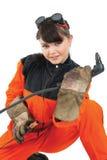 Soldador de la muchacha que trabaja con la hornilla imagen de archivo libre de regalías