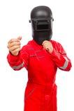 Soldador em macacões vermelhos Fotos de Stock Royalty Free