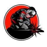 Soldador que trabaja en la máscara en las chispas de metal de soldadura libre illustration