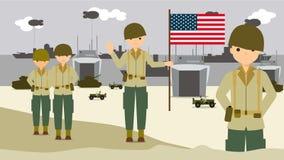 Soldados americanos en las playas de aterrizaje en Normandía Francia stock de ilustración