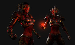 Soldados avançados do cyborg Fotografia de Stock