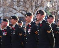 Soldados canadienses en el servicio del día de la conmemoración Foto de archivo libre de regalías