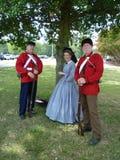 Soldados confederados y mujer civil Fotos de archivo