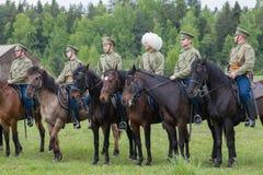 Soldados da cavalaria na fileira Imagens de Stock Royalty Free