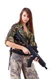 Soldados da mulher nova com injetores imagens de stock royalty free