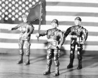 Soldados de brinquedo plásticos para meninos, exército americano, bandeira imagens de stock royalty free