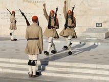 Soldados de la guardia de Evzone Fotos de archivo libres de regalías