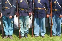 Soldados de la unión--Repromulgación de la guerra civil Fotos de archivo