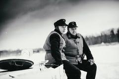 Soldados de Wehrmacht Panzertruppen de tropas acorazadas en el Pz IV Foto blanco y negro de Pekín, China Imagenes de archivo