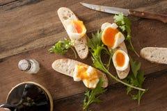 Soldados del pan con los huevos Imagen de archivo libre de regalías