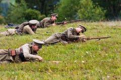 Soldados do russo do ataque da primeira guerra mundial Foto de Stock Royalty Free