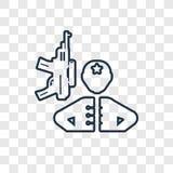 Soldados e um ícone linear do vetor do conceito da arma isolado no tra ilustração stock
