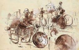 Soldados en bicicletas y un soldado en una motocicleta Imagenes de archivo