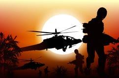 Soldados en la acción stock de ilustración