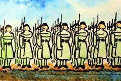 Soldados en la atención. Imagen de archivo libre de regalías