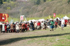 Soldados históricos antes da batalha Foto de Stock