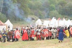 Soldados históricos antes de la batalla Foto de archivo libre de regalías